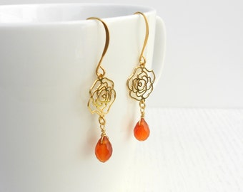 Carnelian earrings, Gold rose earrings, Romantic gifts for her
