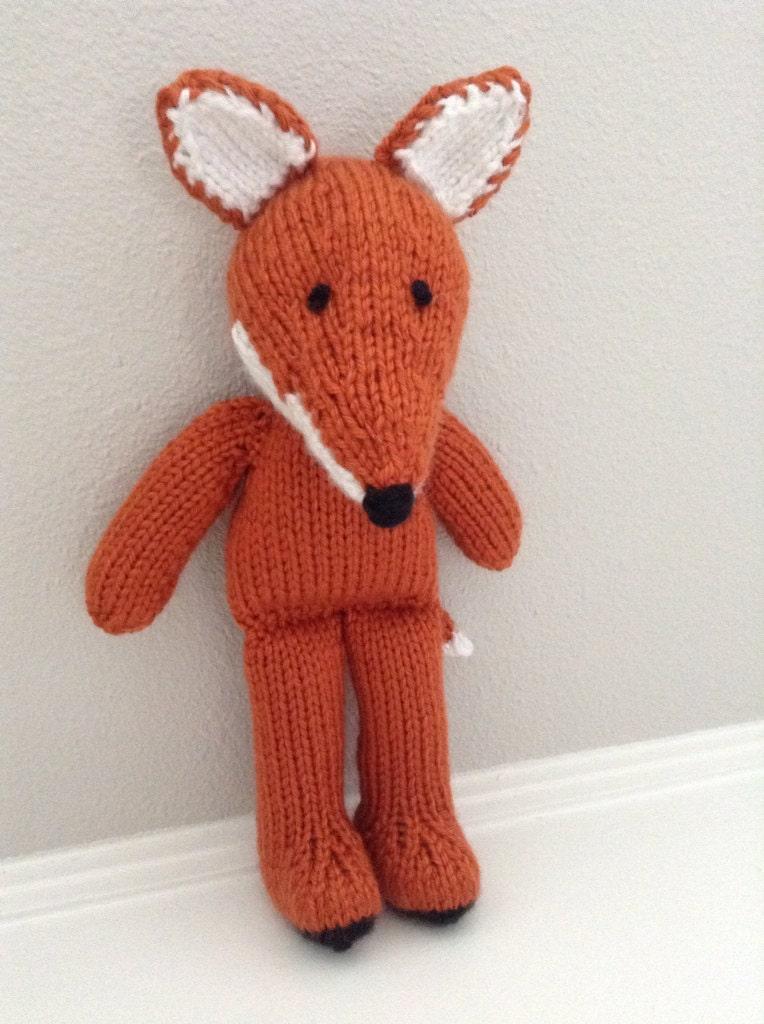 Knitting Stuffed Animals : Knitted fox stuffed animal soft toy by eightlittlefingers