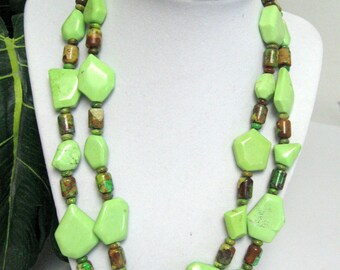 Green and Yellow Turquoise Necklace - Turquoise Statement Necklace - Lime Green and Yellow Turquoise Necklace - Turquoise Necklace