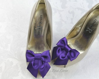 Dark Purple Shoe Clips, Purple Satin Bow Shoe Clip, Purple Wedding Accessories Shoes Clip