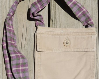 Small Tan Khaki Lined Cross Body Purse/Bag, Upcycled/Recycled from Jean Pockets, Perfect for Dog Walks, Amusement Parks, Wine Tours, etc.