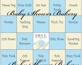 Elephant Theme Baby Shower Game, Blue Elephant Baby Shower Bingo Game, Blue and Tan Elephant Baby Shower, Elephant Theme Baby Bingo Game