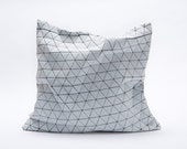 """Black and white designer throw pillow cover 19.5x19.5""""  50x50cm. Geometric inspired design. Removable pilowcase"""