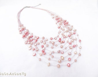 Multistrands pink peach freshwater pearl necklace with crystal on silk thread, pink pearl necklace