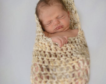 Stork Pouch - Newborn - Crochet - Photography Prop - Ready To Ship