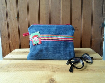 Zip Pouch - recycled denim