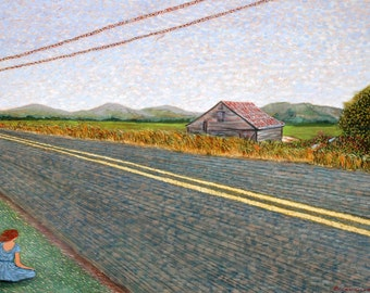 """Peaceful country scene: 7.5"""" x 10"""" signed & numbered print of my original oil painting """"QUIET INTERFERENCE #4""""."""