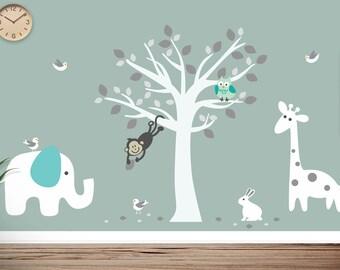 Jungle Animals Tree Wall Decal - Monkey, Elephant, Giraffe, Rabbit, Owl, Birds - Nursery Wall Art - 0133