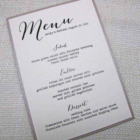 Items Similar To Elegant Wedding Menus