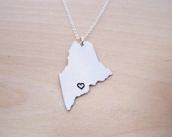 Hand Stamped Heart Maine State Sterling Silver Necklace / Gift for Her