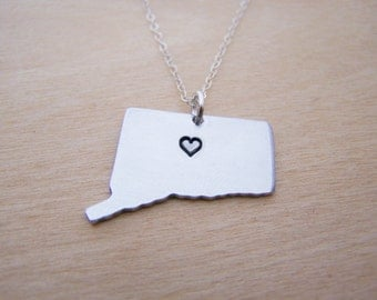 Hand Stamped Heart Connecticut State Sterling Silver Necklace / Gift for Her