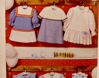 Toddler Girls Aline Dress 6 Styles Drop Waist Sewing Pattern Size 4 Peter Pan Square Sailor Collars 90's Vintage Simplicity 9808 Complete
