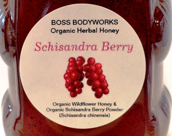 Organic SCHISANDRA BERRY Honey - 12oz - Schisandra chinensis, non-gmo, kosher, fair trade infused wildflower