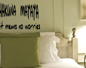 Wall Quotes Hakuna Matata It Means No Worries Lion King Vinyl Wall Decal Quote Removable Home Wall Sticker Home Decor (X011)