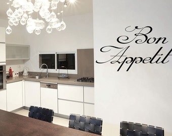 Wall Quotes Bon Appetit Vinyl Wall Decal Quote Removable Kitchen Wall Sticker Home Decor (461)