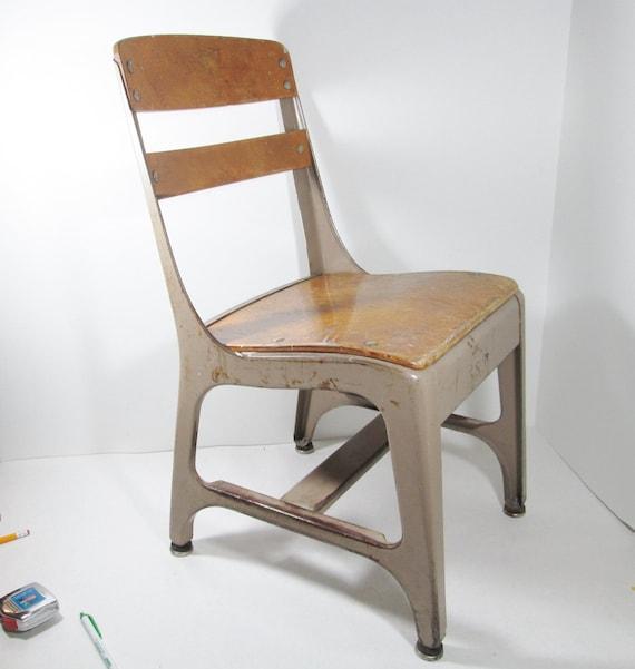 Vintage Childs School Chair Wood Metal by GirlPickers on Etsy