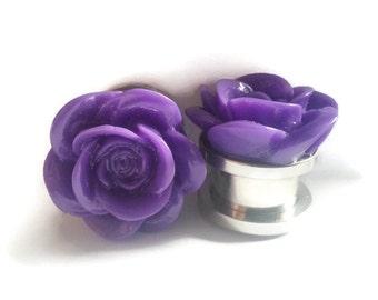 Violet Roses Plugs sizes  2g, 0g, 00g, 7/16, 1/2, 9/16, 5/8, 11/16, 3/4