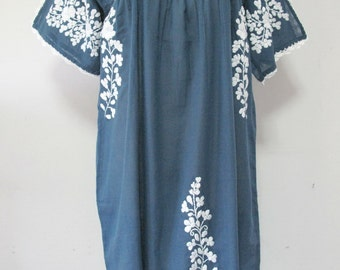 Mexican Embroidered Dress Cotton Tunic In Blue, Boho Dress, Peasant Dress, Oaxacan Dress, Bohemian Style