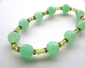 Green Bracelet- Green and Gold Bracelet- Stretch Bracelet- Jade Green Beaded Bracelet- Mint Green Bracelet-