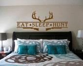 Eat Sleep Hunt Deer Antler & Shotguns   Great for hunting rooms and truck windows  Trophy Room -  Man Cave - Lodge - Cabin - Men Women