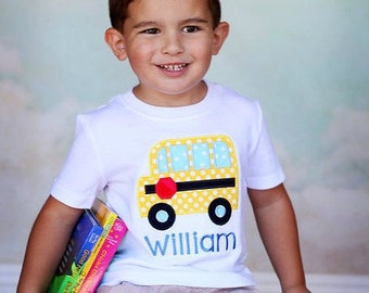 Polka Dot School Bus Children's Applique Shirt - Embroidered Shirt, Boys, Girls, Back to School, School Bus, Children's Clothing
