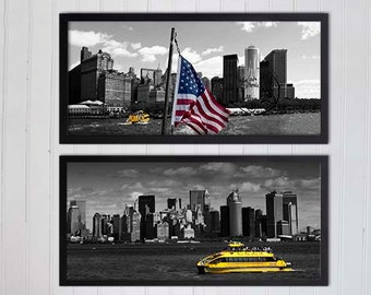 Black and white Photography, New York photography, american flag,Large Art home decor wall art, NYC wall decor, NYC interior design