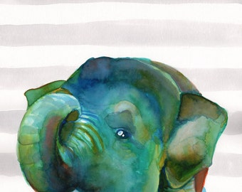 ELEPHANT NURSERY ART print -  Elephant decor for baby room - Watercolor elephant poster - Elephant wall art - Elephant illustration