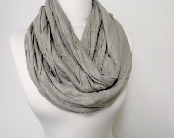 Tan Colour Ruffle Infinity Scarf, Jersey Infinity Scarves, Double Layer, Loop Scarf, Circle Scarf, Winter Fashion, Warm Scarf