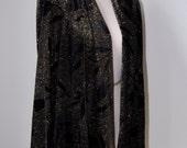 Sale: Vintage Draped Shawl Jacket Black Velvet Gold Glitter Sparkle Evening Coat