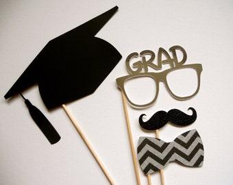 Graduation Photo Booth Props . 2014 Graduation Photo Booth Props . Graduation . Class of 2014 . Glitter and Metallic . Set of 4
