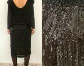 ON SALE Vintage Beaded Drop Waist Dress // 80's dress- 20's Style // Low Back // Medium