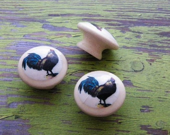 Decorative Knobs, Country Chickens for your Kitchen Cabinet Doors or Bedroom Dresser Drawers-Farmhouse House Decor. Bulk Discounts Available