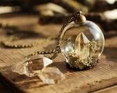 Diamond in the rough necklace , miniature terrarium pendant, Herkimer diamond , raw crystal jewellery , druzy stone , clear quartz