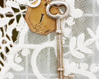 Vintage Monogram Necklace with Swarovski Charm & Trunk Key - ONLY ONE AVAILABLE