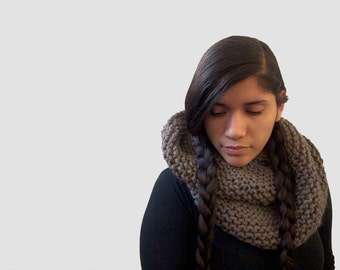 chunky knit loop cowl scarf -- the gracilis in taupe -- you pick the color