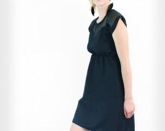 linen dress - empire waist, sweetheart dress, black, sweetheart neckline, medium