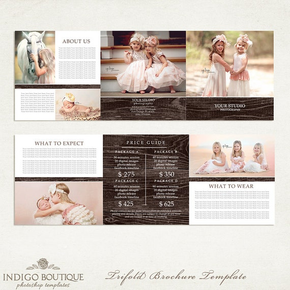 X Trifold Brochure Photographer Price List Photography Package - Price list brochure template