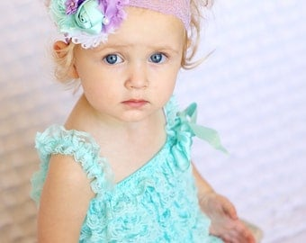 Baby Romper/Baby Girl Romper/Girl Lace Romper//Baby Lace Romper/Girls Cake Smash/Lace Romper Baby/1st Birthday Outfit/Photo Outfit/aqua