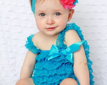turquosie/ hot pink lace romper and headband SET,petti romper,baby headband,girls first birthday outfit, vintage headband, lace petti romper