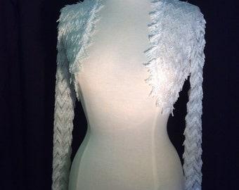 Ivory Fringe Long Sleeve Bridal Wedding Shrug Bolero.