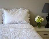 Queen Bedding Set, White Ruffle Vintage