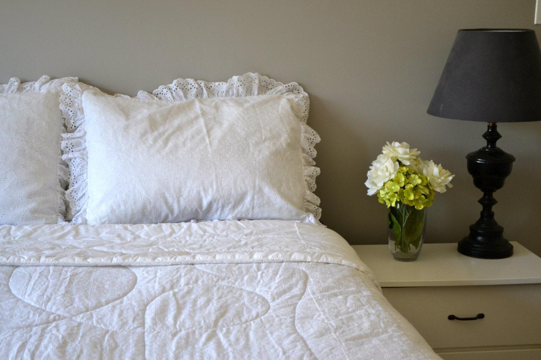 Queen Bedding Set White Ruffle Vintage