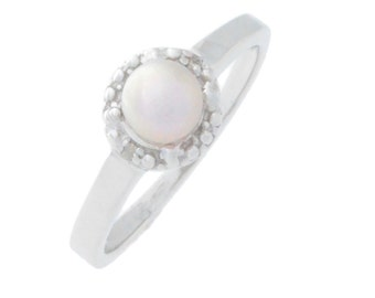 Pink Freshwater Pearl & Diamond Round Ring .925 Sterling Silver Rhodium Finish