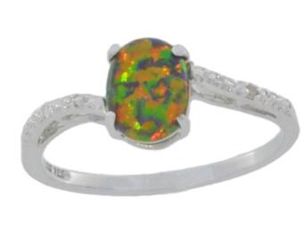 8x6mm Black Opal & Diamond Oval Ring .925 Sterling Silver Rhodium Finish