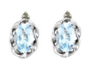 Aquamarine & Diamond Oval Stud Earrings .925 Sterling Silver