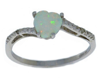 Opal & Diamond Heart Ring .925 Sterling Silver Rhodium Finish