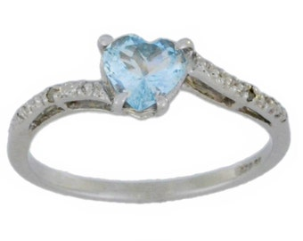 Aquamarine & Diamond Heart Ring .925 Sterling Silver