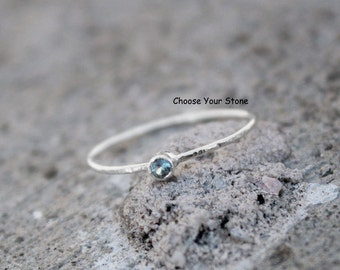 Birthstone Ring in Sterling Silver, Choose Your Color