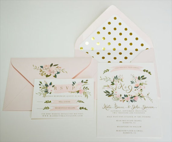 blush wedding invitations set