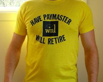 1980's Yellow Paymaster Tshirt. Funny Sugar Daddy Tee. Financial Tshirt. WNL. Unisex. Medium M Large L